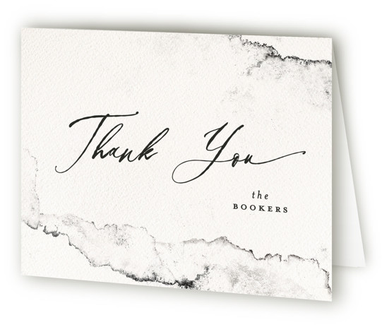 This is a landscape modern, painterly, black and white Wedding Thank You Cards by Pink House Press called Inky with Standard printing on Standard Cover in Card fold over (blank inside) format. This wedding invitation features the classic feel of ...