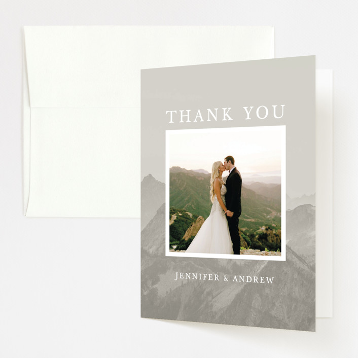 """Modern Mountain"" - Rustic Folded Thank You Card in Fog by Gratia Design Co.."