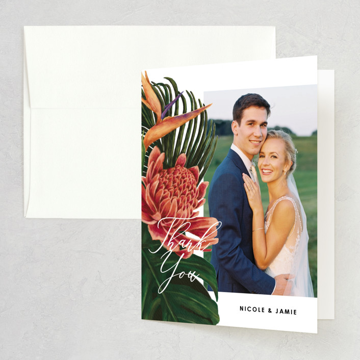 """""""Tropical Bouquet"""" - Folded Thank You Card in Basil by Elly."""