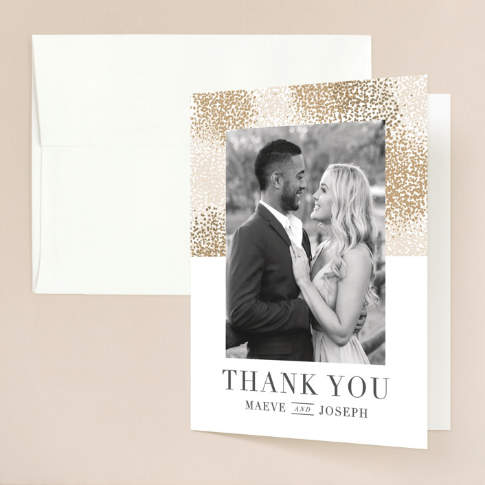 """Organic Dots"" - Bohemian Folded Thank You Card in Champagne by lena barakat."