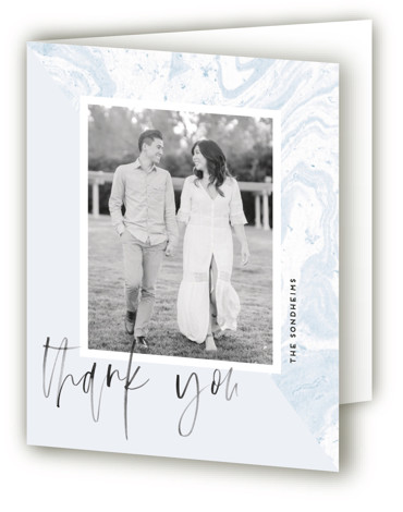 This is a blue Wedding Thank You Cards by shoshin studio called thespian with Standard printing on Standard Cover in Card fold over (blank inside) format. This design features inky textured script in layered, editable text