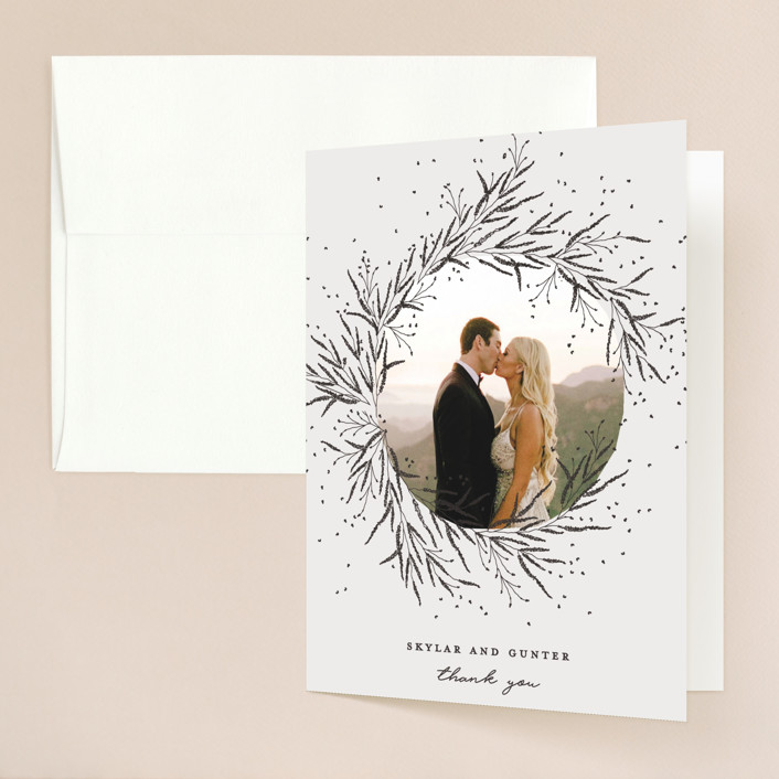 """""""A Sketched Wreath"""" - Folded Thank You Card in Concrete by Plain White Paper Co."""