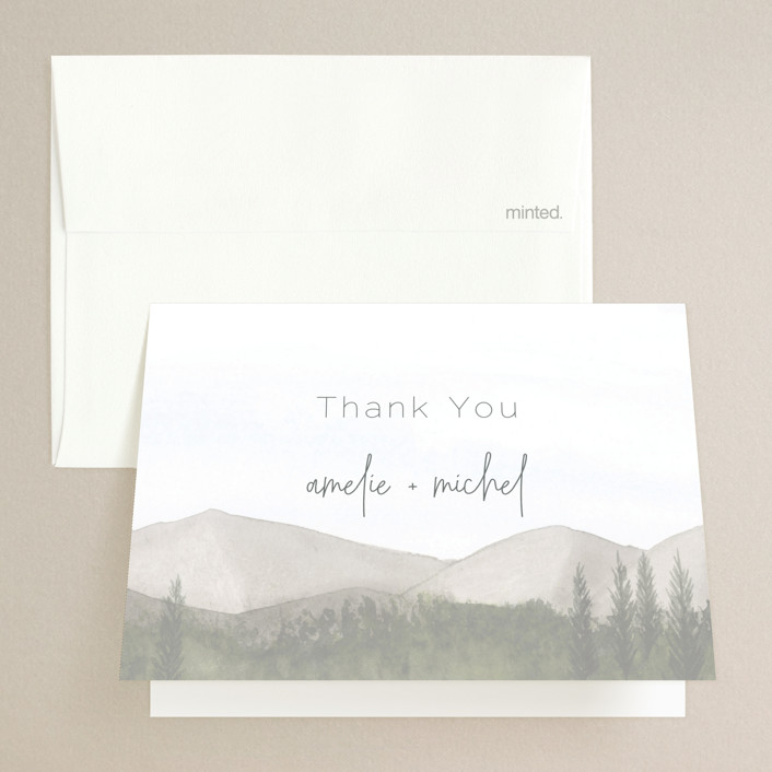"""muted mountains"" - Rustic Folded Thank You Card in Splendid Day by Deborah Chou."