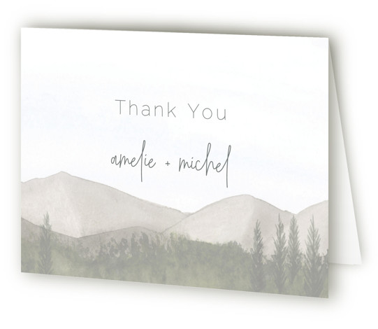 This is a landscape grey Wedding Thank You Cards by Deborah Chou called muted mountains with Standard printing on Standard Cover in Card fold over (blank inside) format. Watercolor woodlands provide the perfect backdrop for your wedding invitation