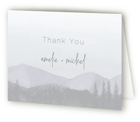 This is a landscape illustrative, rustic, purple Wedding Thank You Cards by Deborah Chou called muted mountains with Standard printing on Standard Cover in Card fold over (blank inside) format. Watercolor woodlands provide the perfect backdrop for your wedding invitation ...