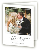 This is a black and white wedding thank you card by Katherine Moynagh called Scripted Romance with standard printing on strathmore in standard.