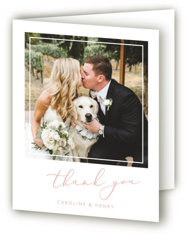 This is a portrait classic and formal, simple and minimalist, pink Wedding Thank You Cards by Katherine Moynagh called Scripted Romance with Standard printing on Standard Cover in Card fold over (blank inside) format. Simple understated elegance and a modern ...