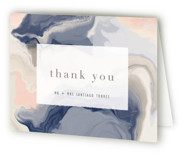 This is a blue wedding thank you card by Hooray Creative called marble majesty with standard printing on strathmore in standard.