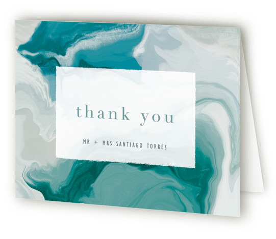This is a landscape painterly, green Wedding Thank You Cards by Hooray Creative called marble majesty with Standard printing on Standard Cover in Card fold over (blank inside) format. A modern layout with a unique marble background suggesting an abstract ...