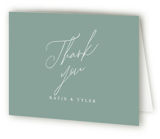 This is a landscape bold and typographic, classic and formal, simple and minimalist, green Wedding Thank You Cards by Jennifer Wick called Tallulah with Standard printing on Standard Cover in Card fold over (blank inside) format. An understated, yet updated ...