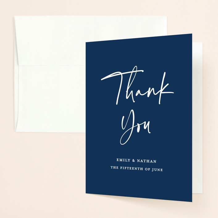 """""""Semi Formal"""" - Folded Thank You Card in Navy by Paper Dahlia."""