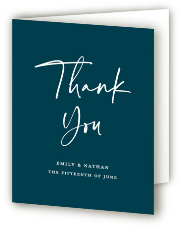 This is a portrait classic and formal, blue Wedding Thank You Cards by Paper Dahlia called Semi Formal with Standard printing on Standard Cover in Card fold over (blank inside) format. An elegant mix of traditional typography and modern calligraphy. ...