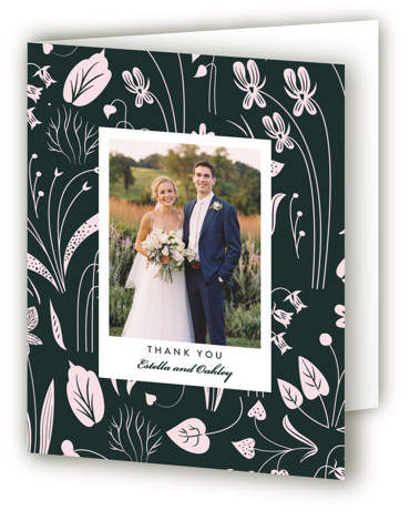 This is a portrait botanical, green, pink Wedding Thank You Cards by Eve Schultz called Forest Foliage with Standard printing on Standard Cover in Card fold over (blank inside) format. Celebrate your special day with this unique, hand illustrated invitation ...