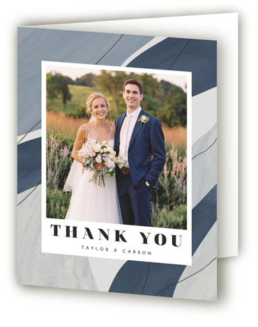 This is a portrait modern, painterly, blue Wedding Thank You Cards by Olivia Goree called Formation with Standard printing on Standard Cover in Card fold over (blank inside) format. A colorful wedding invitation featuring bold & modern typography with watercolor ...