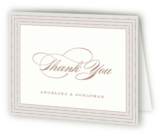 This is a landscape classic and formal, brown, grey Wedding Thank You Cards by Hooray Creative called Simply Grand with Standard printing on Standard Cover in Card fold over (blank inside) format. Elegant typography and a neutral toned border.