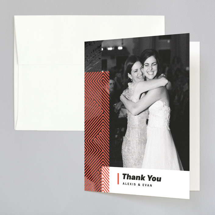 """Alexis"" - Modern Folded Thank You Card in Coral by Calee A.H. Cecconi."