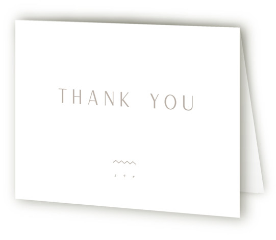 This is a landscape bold and typographic, simple and minimalist, grey Wedding Thank You Cards by Leah Bisch called Adora with Standard printing on Standard Cover in Card fold over (blank inside) format. Modern and elegant typographic wedding invitation