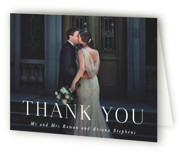 This is a black and white wedding thank you card by Hooray Creative called Namely with standard printing on strathmore in standard.