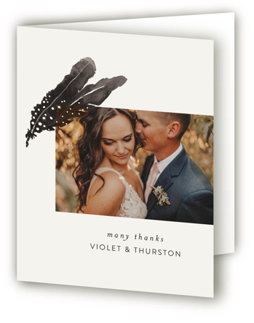 This is a portrait bohemian, illustrative, painterly, brown, white Wedding Thank You Cards by Morgan Kendall called Feathers with Standard printing on Standard Cover in Card fold over (blank inside) format. A bohemian wedding invite featuring hand painted watercolor feathers. ...