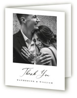 This is a white wedding thank you card by Eric Clegg called Ridgeline with standard printing on strathmore in standard.