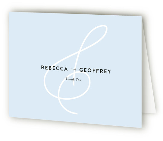 This is a landscape classic and formal, blue Wedding Thank You Cards by Kim Dietrich Elam called AND with Standard printing on Standard Cover in Card fold over (blank inside) format. This minimal invitation features an ampersand background.
