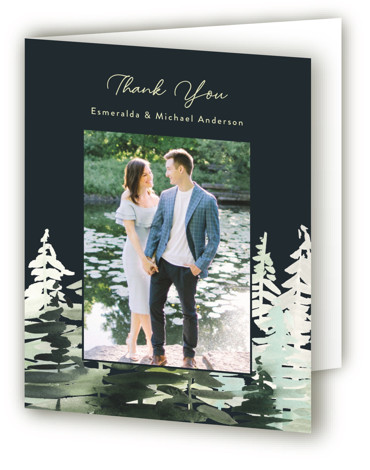 This is a portrait illustrative, painterly, blue Wedding Thank You Cards by Yao Cheng Design called Evergreens Watercolor with Standard printing on Standard Cover in Card fold over (blank inside) format. Inspired by the Adirondack mountains, this invitation celebrates nature ...