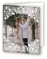 This is a grey wedding thank you card by Lagniappe Paper called Hacienda with standard printing on strathmore in standard.