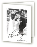 This is a black wedding thank you card by Karen Glenn called Why Knot with standard printing on strathmore in standard.