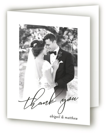 This is a portrait simple and minimalist, black Wedding Thank You Cards by Karen Glenn called Why Knot with Standard printing on Standard Cover in Card fold over (blank inside) format. A play on words titles this fun, typographical wedding ...