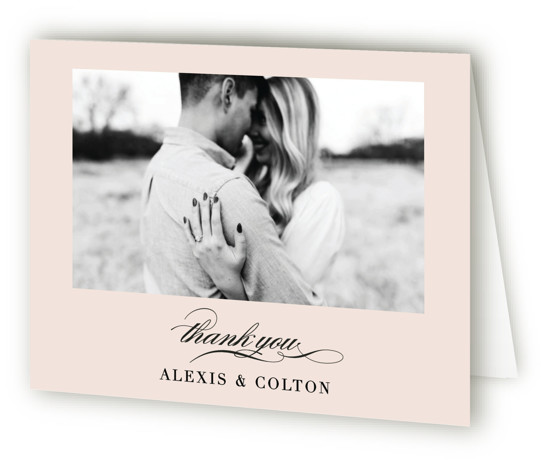 This is a landscape pink Wedding Thank You Cards by AK Graphics called Charming with Standard printing on Standard Cover in Card fold over (blank inside) format. A classic and traditional wedding invitation with a twist, incorporating a photo of ...