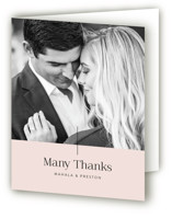 This is a pink wedding thank you card by Smudge Design called The Ace with standard printing on strathmore in standard.