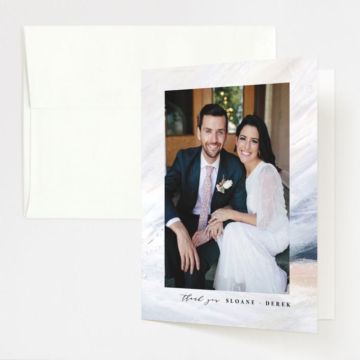 """wishful"" - Modern Folded Thank You Card in Tide by Kate Ahn."
