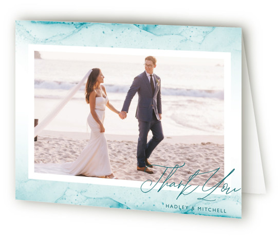 This is a landscape modern, painterly, blue Wedding Thank You Cards by Kaydi Bishop called New Wave with Standard printing on Standard Cover in Card fold over (blank inside) format. Hand painted fluid art, with custom blending solution, creates an ...