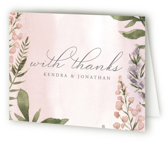 This is a landscape botanical, green, pink Wedding Thank You Cards by Christie Elise called Spring Wildflowers with Standard printing on Standard Cover in Card fold over (blank inside) format. This beautiful blossoming wedding invitation features hand painted water colour ...