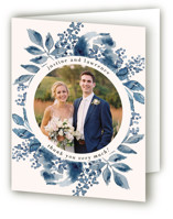 This is a blue wedding thank you card by Chris Griffith called Southern Comfort with standard printing on strathmore in standard.