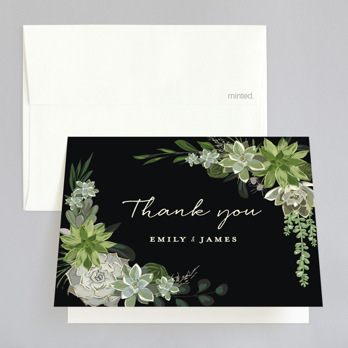 """Agave & Greens"" - Folded Thank You Card in Midnight by Susan Moyal."