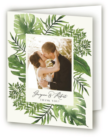 This is a portrait green Wedding Thank You Cards by Chris Griffith called Tropical Vows with Standard printing on Standard Cover in Card fold over (blank inside) format. Personally hand painted Watercolor tropical foilage sets the scene for a destination ...