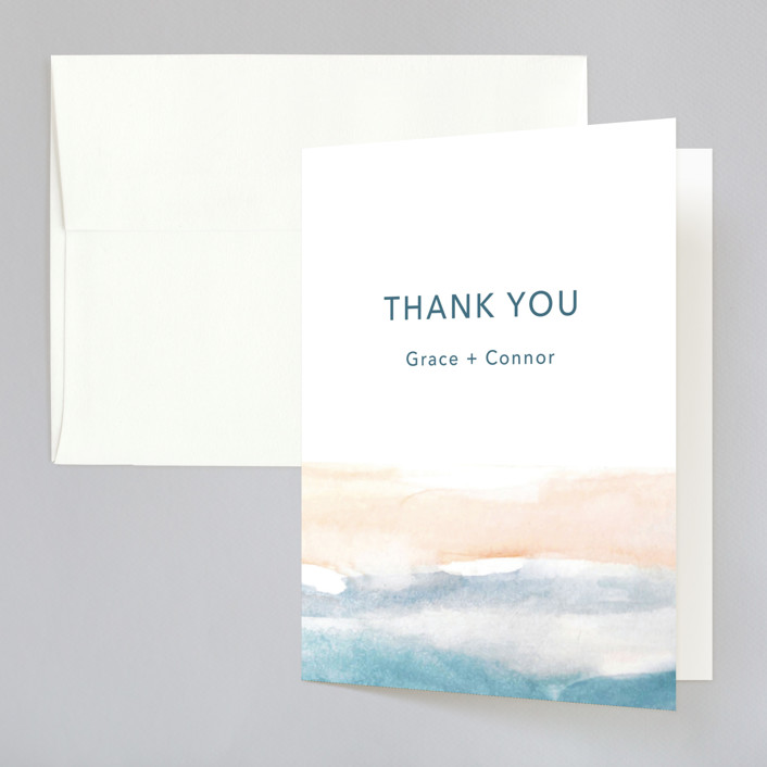 """""""Sea and Sand"""" - Folded Thank You Card in Cortez by Jenny Partrite."""