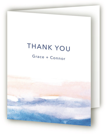 This is a portrait blue Wedding Thank You Cards by Jenny Partrite called Sea and Sand with Standard printing on Standard Cover in Card fold over (blank inside) format. Hand painted simple design perfect for a destination wedding.