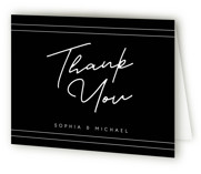 This is a black wedding thank you card by GeekInk Design called Vesperum with standard printing on strathmore in standard.