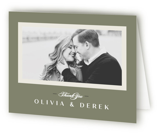 This is a landscape green Wedding Thank You Cards by Creo Study called Photographed with Standard printing on Standard Cover in Card fold over (blank inside) format. An elegant photo wedding invite in a contemporary setting