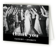 This is a black and white wedding thank you card by Christie Garcia called Key Ingredients with standard printing on strathmore in standard.