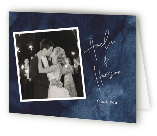 This is a landscape blue Wedding Thank You Cards by Chris Griffith called Plain and Simple with Standard printing on Standard Cover in Card fold over (blank inside) format. A dramatic personally handpainted watercolor abstract background with modern type