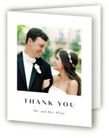 This is a black wedding thank you card by Annie Shapiro called Arguello with standard printing on strathmore in standard.