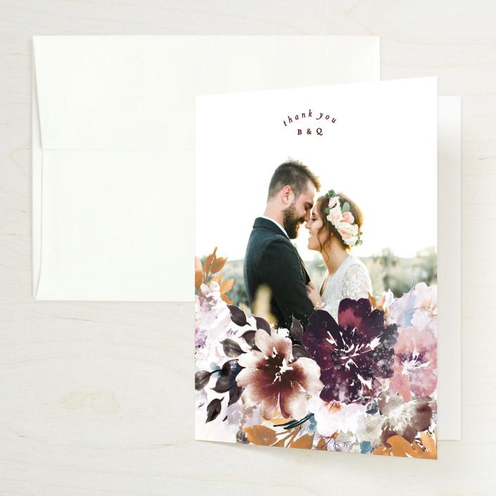 """Lush Bouquet"" - Folded Thank You Card in Autumn by Phrosne Ras."