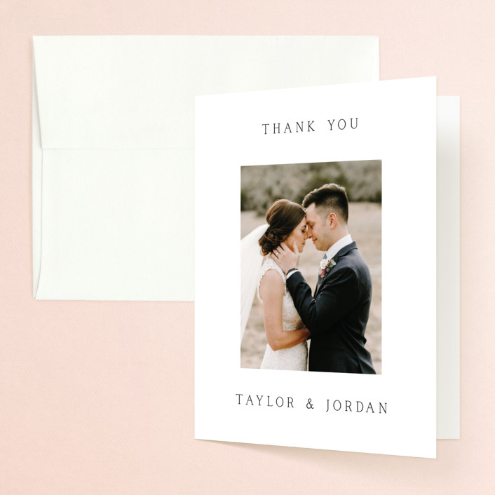 """""""Svelte"""" - Folded Thank You Card in Ivory by Fig and Cotton."""