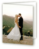 This is a white wedding thank you card by Michelle Taylor called Aligned with standard printing on strathmore in standard.