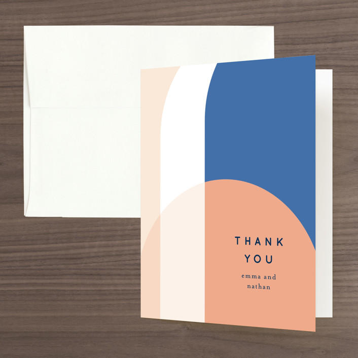 """""""Color Arch"""" - Modern Folded Thank You Card in Aquatic by Baumbirdy."""