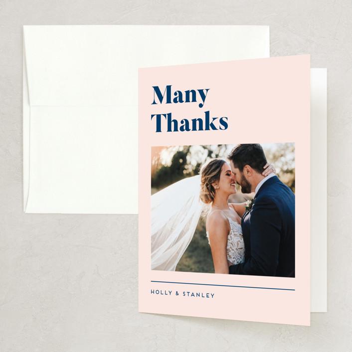 """Vogue"" - Folded Thank You Card in Navy by Genna Blackburn."
