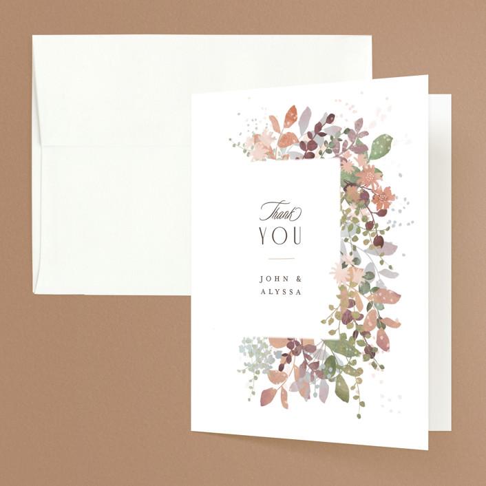 """""""Wesleyan Hill"""" - Folded Thank You Card in Wildflower by Jennifer Wick."""